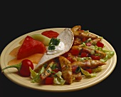 Chicken Fajita on a Plate with Melon Salad