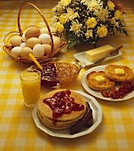 Large Breakfast, Pancakes Topped with Strawberry Preserves with Orange Juice