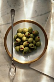 Dish of Green Olives with Pimentos, Olive Spoon
