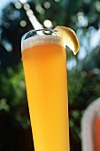 Close Up of a Glass of Hefweizen Wheat Beer, Outdoors