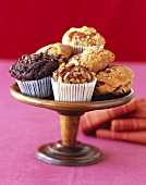 Muffins and Scones on a Wooden Pedestal Dish