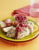 Herb Roasted Chicken Breast with Cranberry Sauce and Red Potatoes