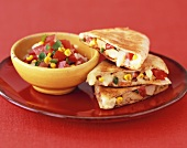 Chicken, Corn and Tomato Quesadilla with Salsa