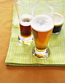 Three Different Types of Beer: Pale Ale, Brown Ale and Stout