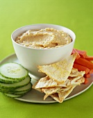 Hummus with Pita Triangles, Cucumber Slices and Carrots