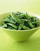 Snap Peas with Mint in a Green Bowl