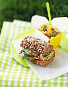 Whole Grain Veggie Sandwich on an Outdoor Picnic Table