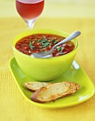Gazpacho in a Green Bowl with Cheese Crostini and Wine