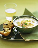 A Bowl of Corn Chowder with Currant Scone
