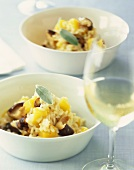 Two Bowls of Mushroom, Squash and Sage Risotto with White Wine