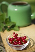 Small Glass Bowl of Red Currants on an Outdoor Table