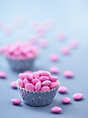 Muffin Cups of Pink Candy Coated Chocolates