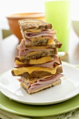 Tall Stack of Grilled Ham and Cheese Sandwiches