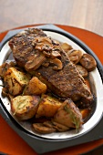 Sirloin Steak with Mushrooms and Potatoes in Au Jus Sauce