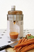 Juicer with Fresh Organic Carrot Juice
