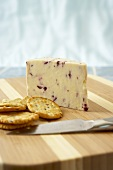 Wensleydale with Cranberries & Crackers on a Cheese Board