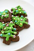 Chocolate Christmas Tree Spritz Cookies