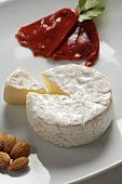Wheel of Camembert with Wedge Removed, Almonds and Roasted Red Pepper