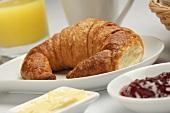 Croissant on Breakfast Table