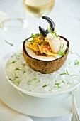 Stone Crab Ceviche Served inside a Coconut