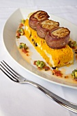 Bacon Wrapped Scallops Over Rice Timbale