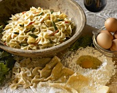 Wooden Bowl of Bowtie Pasta With Vegetables, Ingredients