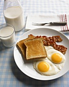 Breakfast Plate, Two Fried Eggs with Bacon and Toast, Milk