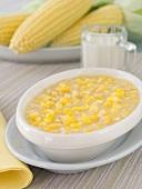 Bowl of Creamed Corn; Fresh Corn on the Cob
