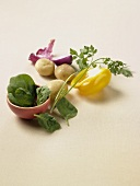 Vegetable and Herb Still Life on a White Background