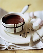 Chocolate sauce with marshmallows