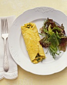 Omelette with herbs and garden salad