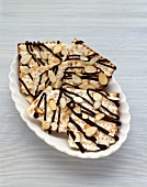 Matzah with chocolate stripes and almonds