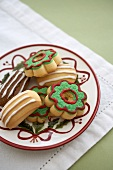 Decorated Pressed Cookies for Christmas