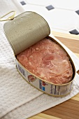 Canned Ham, Opened on a Cutting Board