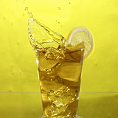 Glass of Iced Tea with Lemon, Splashing