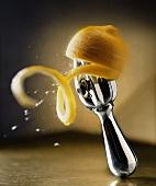 Juicing Lemon on a Metal Reamer, Lemon Juice Squirting