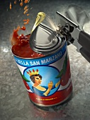 Opening Can of Tomatoes with Can Opener, Tomatoes Splashing