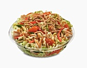 Mandarin Chicken Salad in a Plastic Take Out Bowl