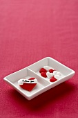 Candy Hearts in a Divided Dish