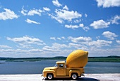 A Lemon in the Back of a Model Pick Up Truck by the Water