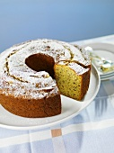 Banana Bundt Cake with Slice Removed on a Plate
