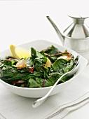 Steamed beetroot leaf salad