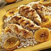 Grilled Lemon Chicken Tenders Over Rice