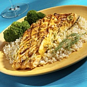 Grilled Salmon Fillet with Mustard Dill Sauce Over Brown Rice