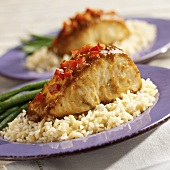 Mahi Mahi with Red Pepper Salsa on Rice with Green Beans