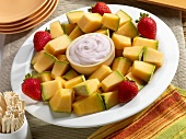 Cantaloupe and Strawberry Platter with Strawberry Dip