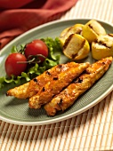 Grilled Chicken Tenders with Roasted Red Pepper Sauce and Grilled Summer Squash