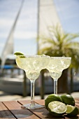 Margaritas on an Outdoor Table, a Sailboat in the Background