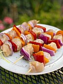 Raw Chicken and Vegetable Kabobs Ready for the Grill