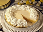 Pumpkin Cream Pie with a Slice Removed